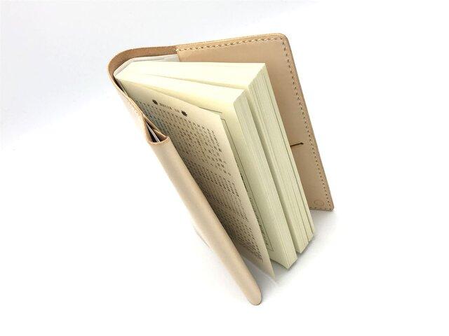 革のブックカバー(文庫本サイズ)/book jaket ヌメ革:ナチュラル【選べるステッチカラー】(r300)の画像1枚目