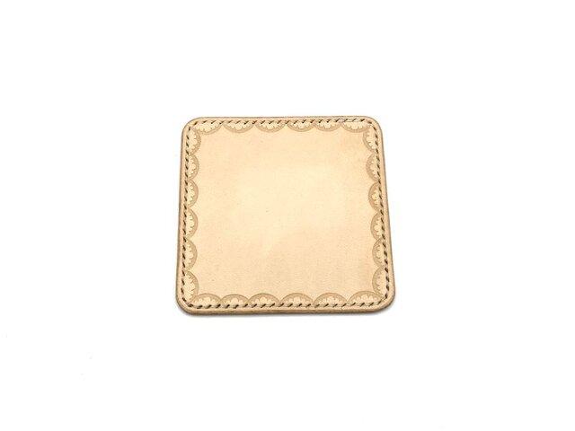 革のコースター ヌメ革:ナチュラル【選べるステッチカラー】(r303)の画像1枚目