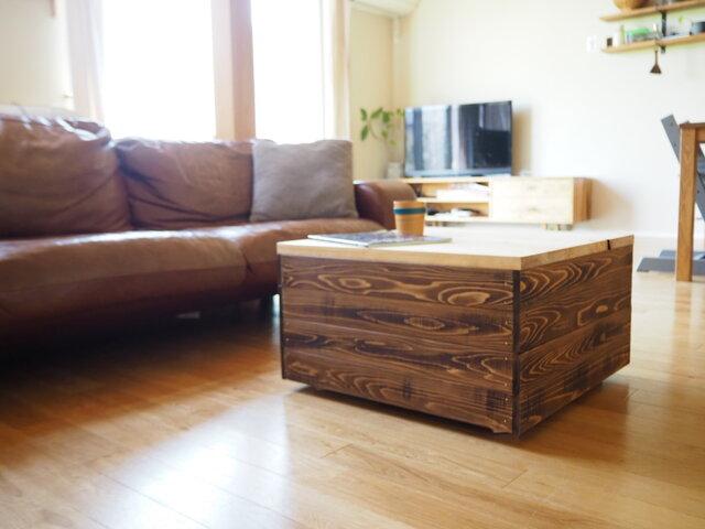 箱の中に収納できるボックステーブル ローテーブル センターテーブルの画像1枚目