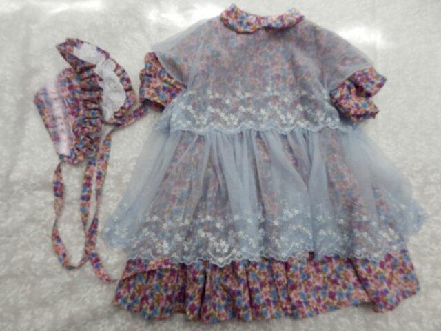 ドール背丈が67~70cm用 ピンク系ローン地ドレスとボネの画像1枚目
