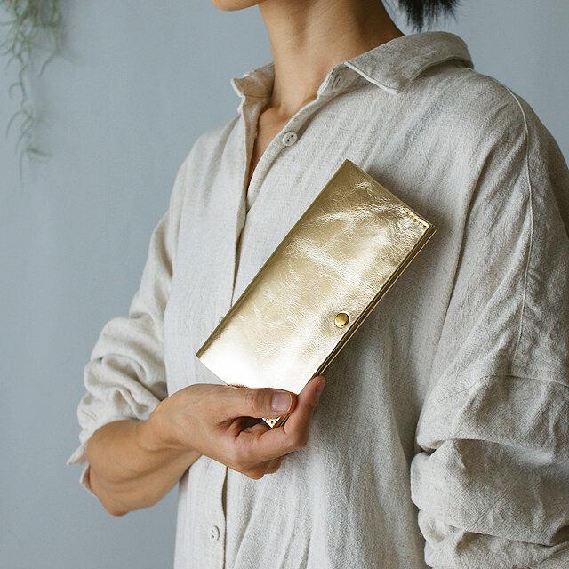 スマート長財布・ゴールド(イタリア産牛革 箔押し) 薄い長財布ですっきり断捨離!の画像1枚目