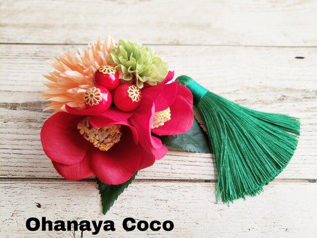花yurari キュート椿姫の髪飾り クリップピンタイプ No555の画像1枚目