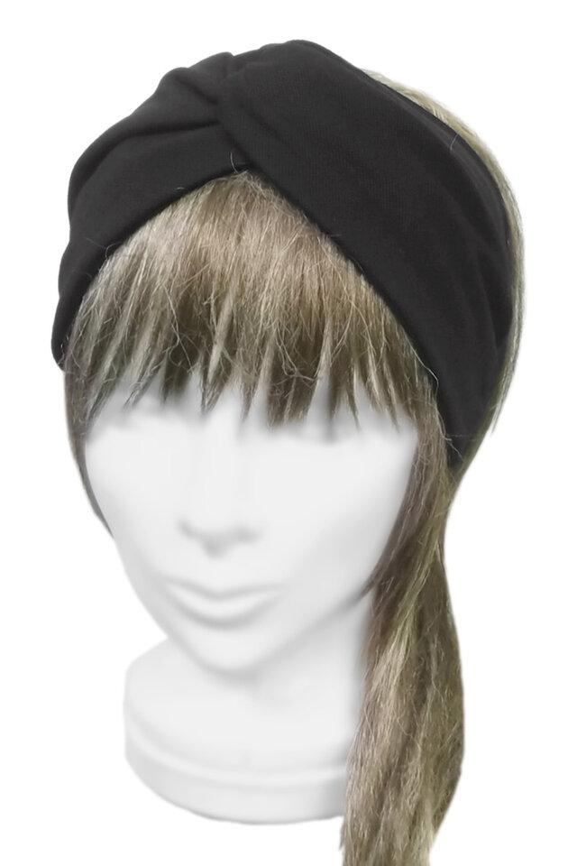クロスワイドヘアバンド◆コットンニット /ブラックの画像1枚目