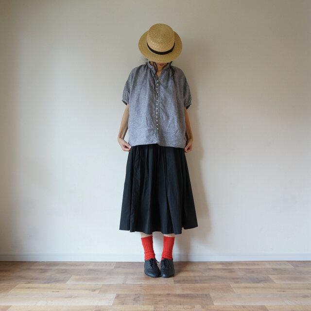 ◯予約商品◯French Linen blouse 半袖 LADY'S BLACK(チェック)の画像1枚目