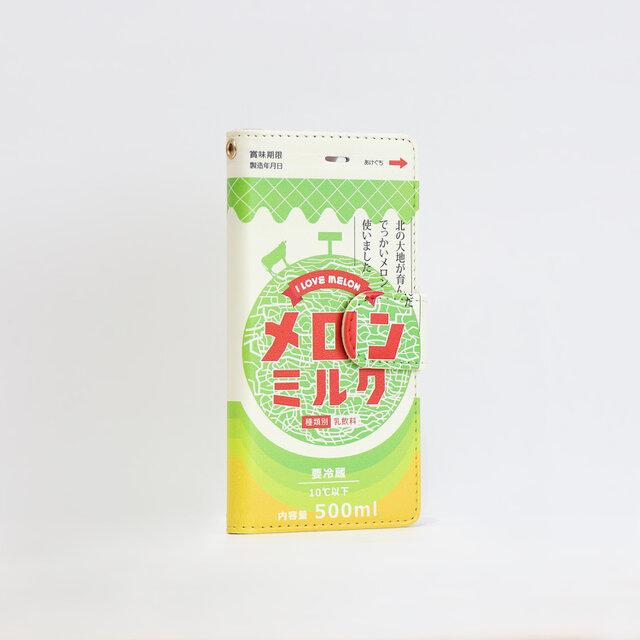 iphoneSE ケース 手帳 ベルト付 メロン ミルク iphone8の画像1枚目
