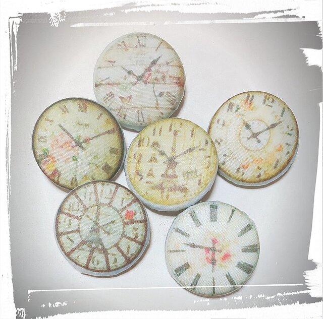 懐中時計くるみボタンセットの画像1枚目