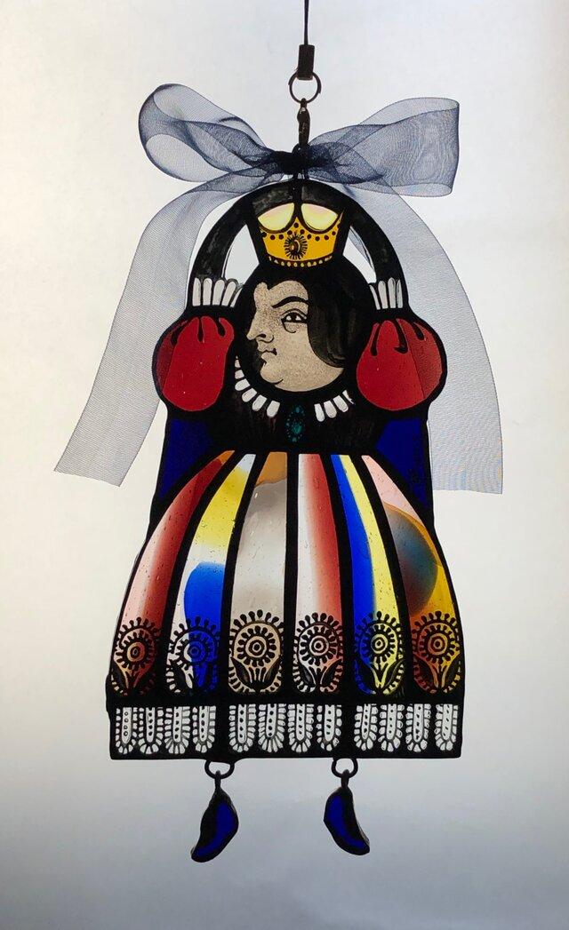ステンドグラスのぶら下がり女王・ネイビーリボンの画像1枚目