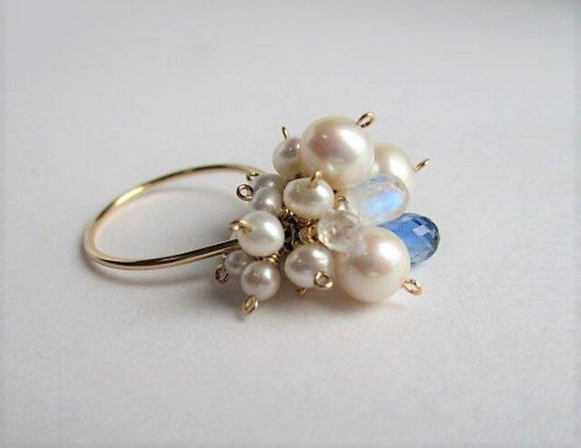 淡水真珠&カイヤナイトリング14Kgfの画像1枚目