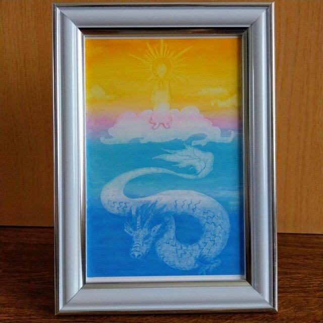 【阿弥陀如来と天空の龍】ポストカードの画像1枚目