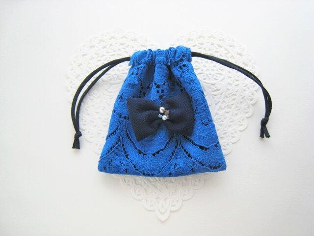 可愛いリボンを付けたレースのミニ巾着袋(ブルー)の画像1枚目