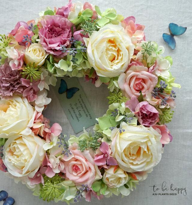 Wreath~to be happy~ 27cm (造花)の画像1枚目