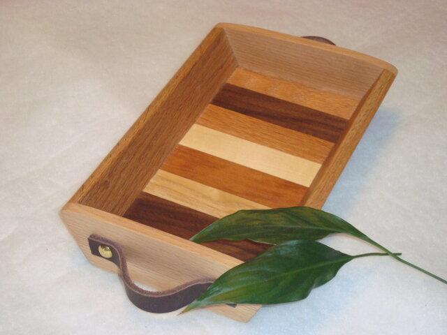 無垢の木 革製取っ手付き 小物トレイ!の画像1枚目