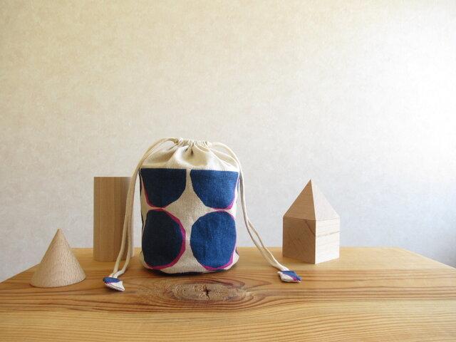コロンとしたの小物入れ(筒形) 水玉、ネイビーの画像1枚目