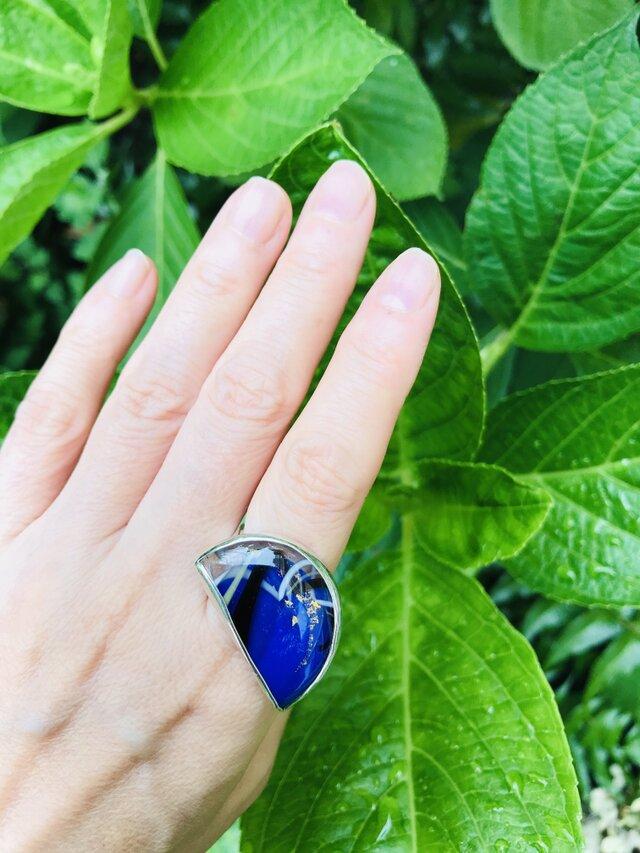 月の夜・指輪/ガラス・950silver#18の画像1枚目