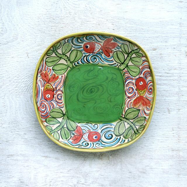 楽し気な金魚絵の深皿(グリーン)の画像1枚目