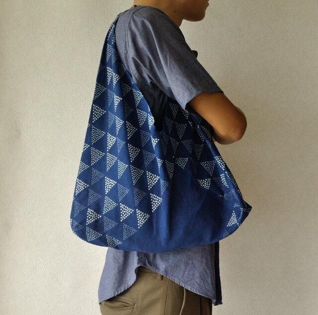 藍染あずま袋(うろこ)の画像1枚目