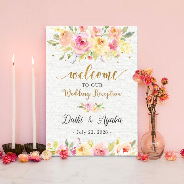 【Pink & Gold shower】ウェルカムボード˳⚛˚結婚式 印刷の画像1枚目