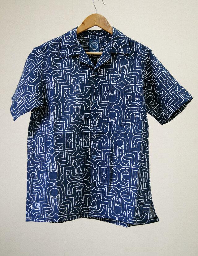 藍染アロハシャツ  アイヌ柄の画像1枚目