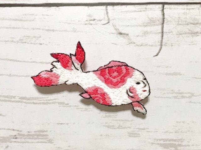 手刺繍浮世絵ブローチ*落合芳幾「見たて似たかきん魚」よりの画像1枚目