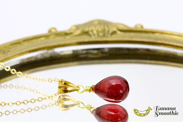 【再販2】7月誕生石 美しい 宝石質 ルビー Sサイズ プレーン 14kgfネックレスの画像1枚目