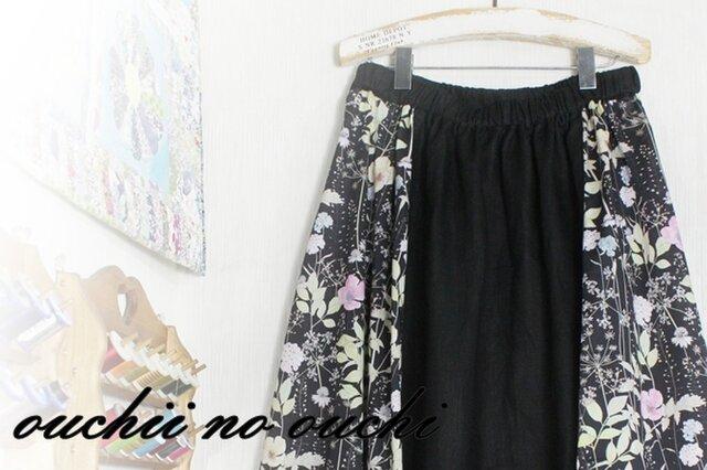 しっとりリネン100♡リバティサイド マキシ風ロングギャザースカート♪の画像1枚目