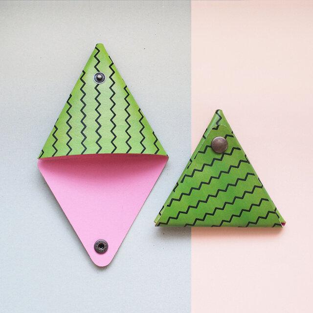 すいか ) 本革 三角 コインケース 小物入れの画像1枚目