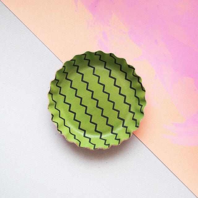 緑色 スイカ ) 本革 ビスケット型 アクセサリー トレイ 小物入れの画像1枚目