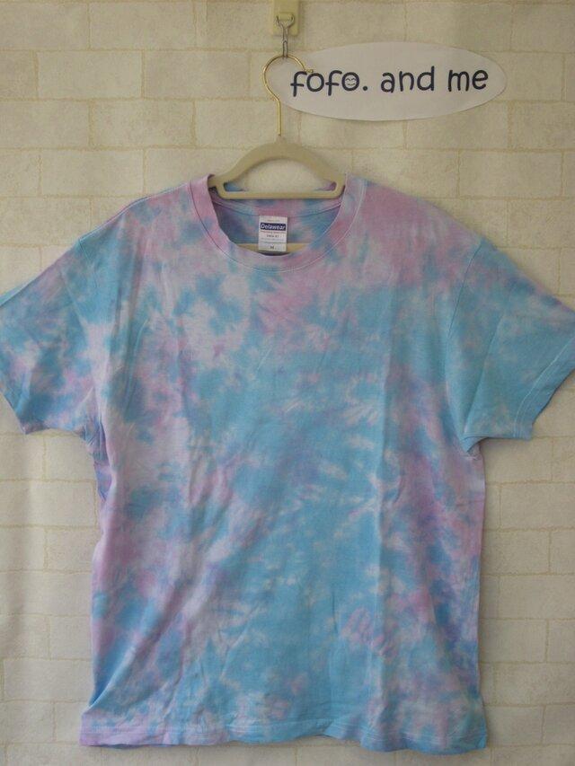 タイダイ染め さわやかな水色Tシャツの画像1枚目