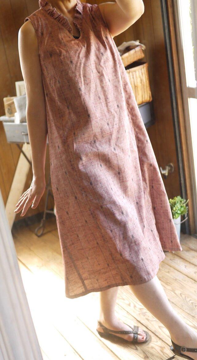 M様専用 正絹紬反物からVネックワンピースの画像1枚目