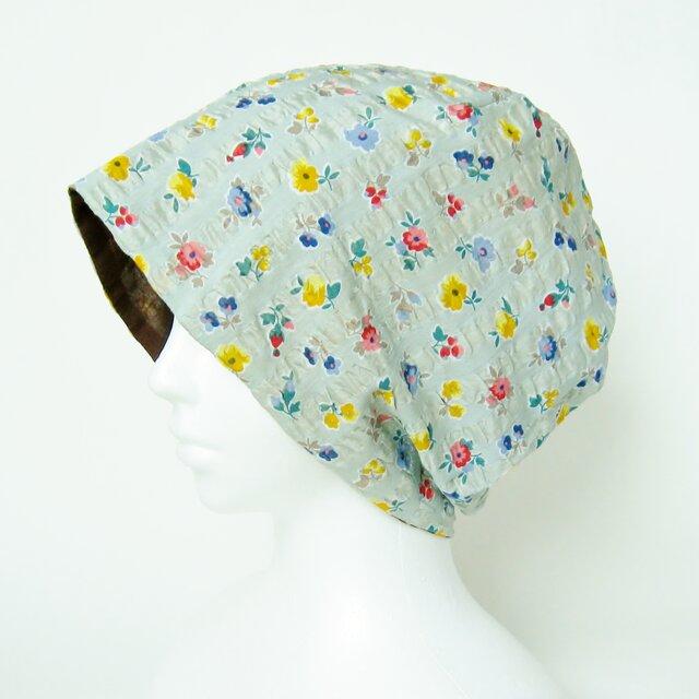 夏に涼しく下地にもなる ゆったりガーゼ帽子 グリーングレー花柄 チョコレートブラウン(CGR-009-GGB)の画像1枚目