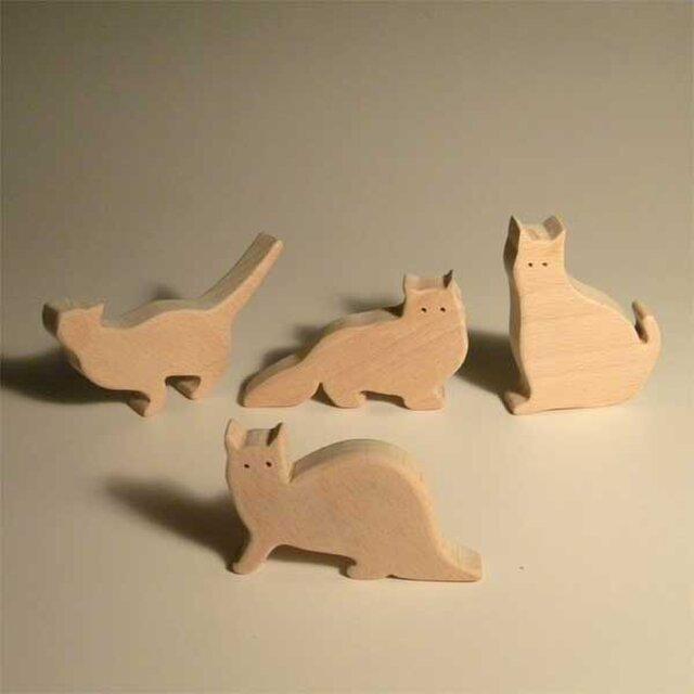 木のパズル 四匹の猫bの画像1枚目