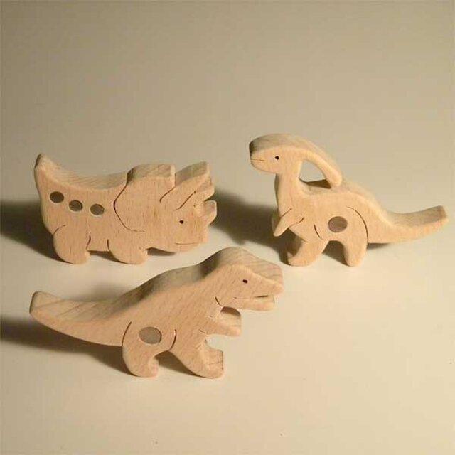 木のパズル 三頭の恐竜Bの画像1枚目