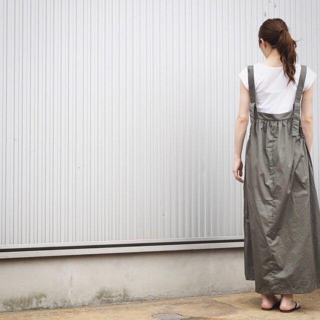 ギャザーコットンのサロペットスカート アーミーグレー No.64の画像1枚目