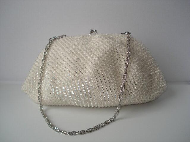 ★X'mas Campaign★ Beaded Bag --Snow Crystal-- [off-white]の画像1枚目