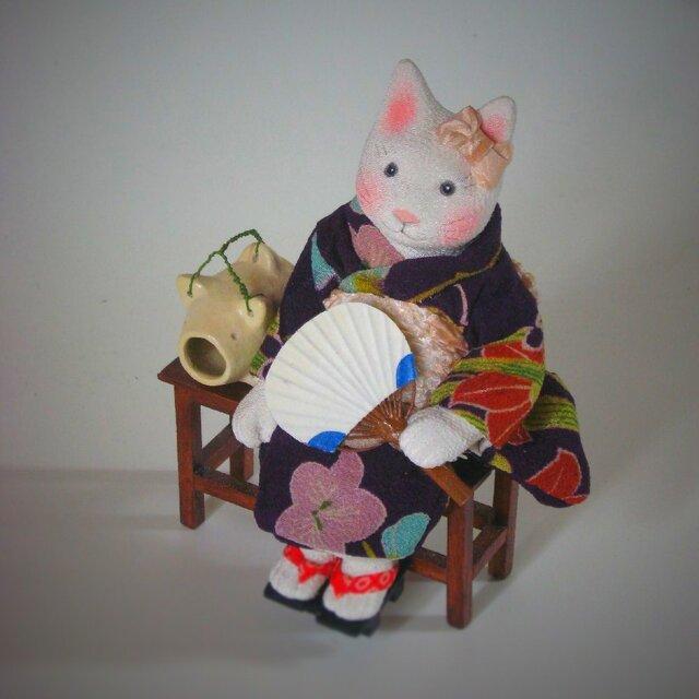 縮緬福猫 夕涼み その二十一の画像1枚目