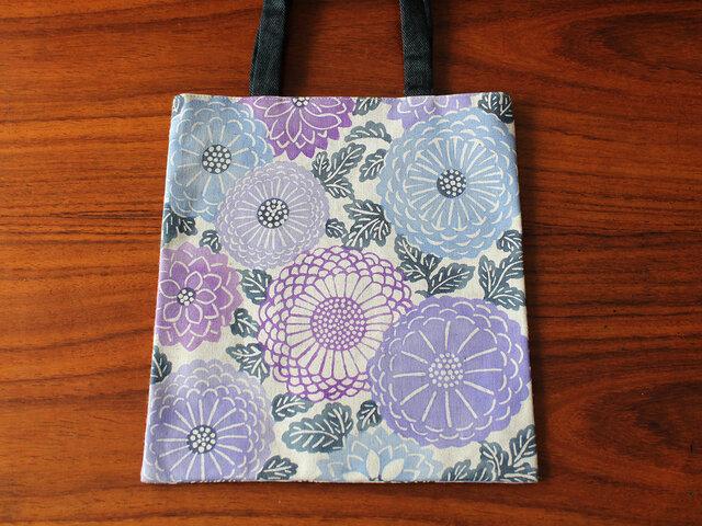 型染めミニトートバッグ(菊紋様 青紫)の画像1枚目