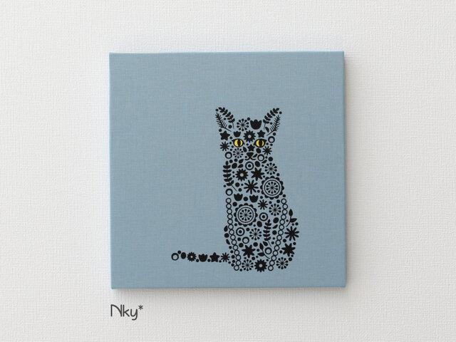 ほっそり猫さんのファブリックパネル M-715◆水色/黒-黄の画像1枚目