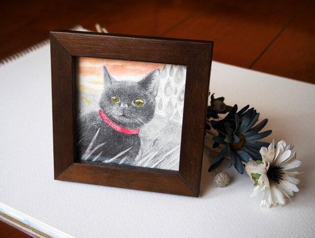 小さな額入の原画「夕暮れ黒猫」の画像1枚目