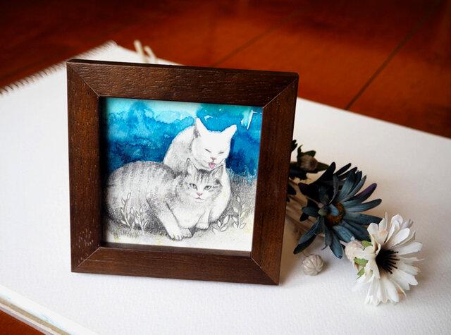 小さな額入の原画「旅先の猫と」の画像1枚目