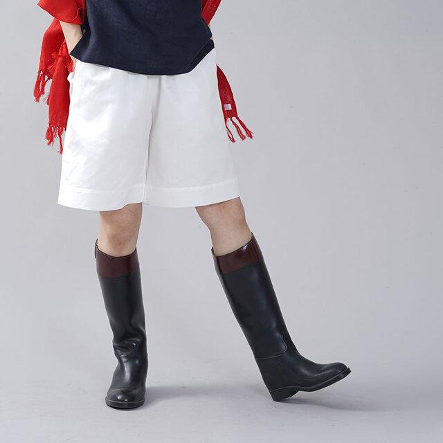 【着数限定 お試し品!】男女兼用 中厚 リネンコットン パンツ ショート キュロット / ホワイト b012c-wht2の画像1枚目
