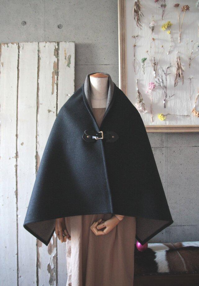 二重織りポンチョ ブラックxグレー BKレザー 牛ヌメ革 和装にも^^ の画像1枚目