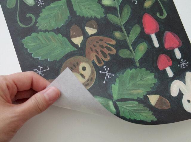 A4サイズ 包装紙/ラッピングペーパー 『きのこの森』30枚入りの画像1枚目