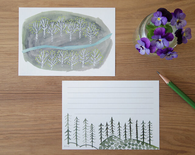 一筆せん/便せん/メモ 「White birch forest」白樺の林の画像1枚目
