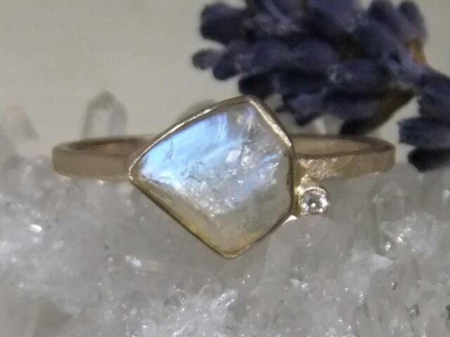ゴールデンムーン原石*K14lunapinkgold ringの画像1枚目