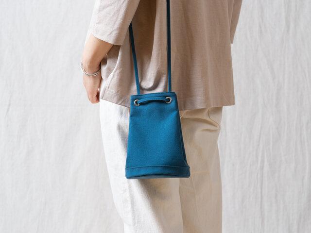 2way巾着バッグ ブルーの画像1枚目