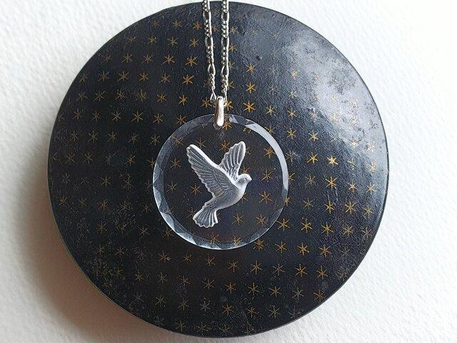 ヴィンテージ Doveインタリオ(30ミリ)Silverネックレスの画像1枚目
