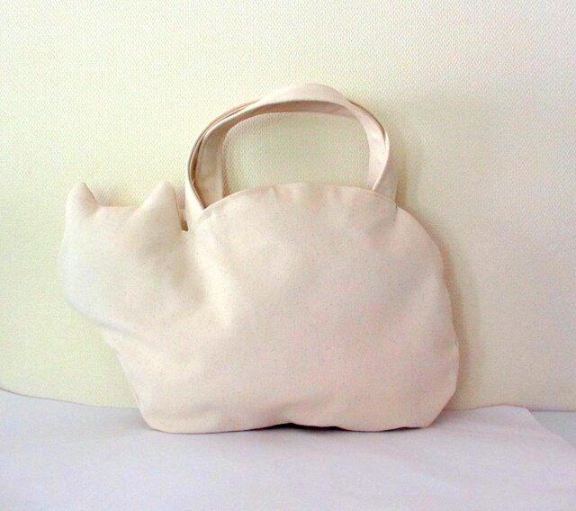 *新作* 帆布のネコバッグ 白猫の画像1枚目