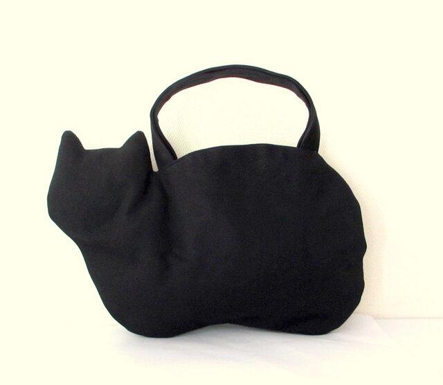 *新作* 帆布のネコバッグ 黒猫の画像1枚目