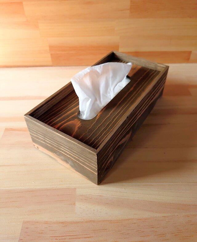 ヴィンテージ風ティッシュケース、木製の画像1枚目