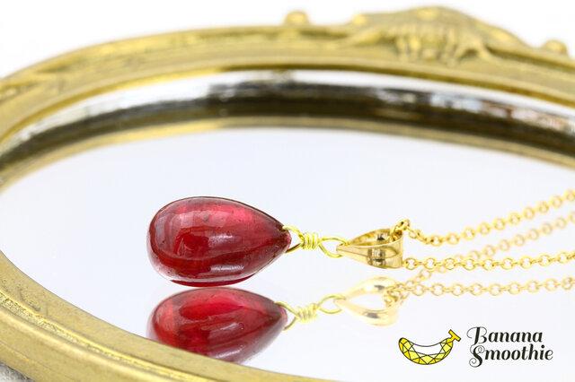【再販】宝石質 ルビー ドロップ 14kgf プレーンタイプ ネックレス 7月誕生石の画像1枚目